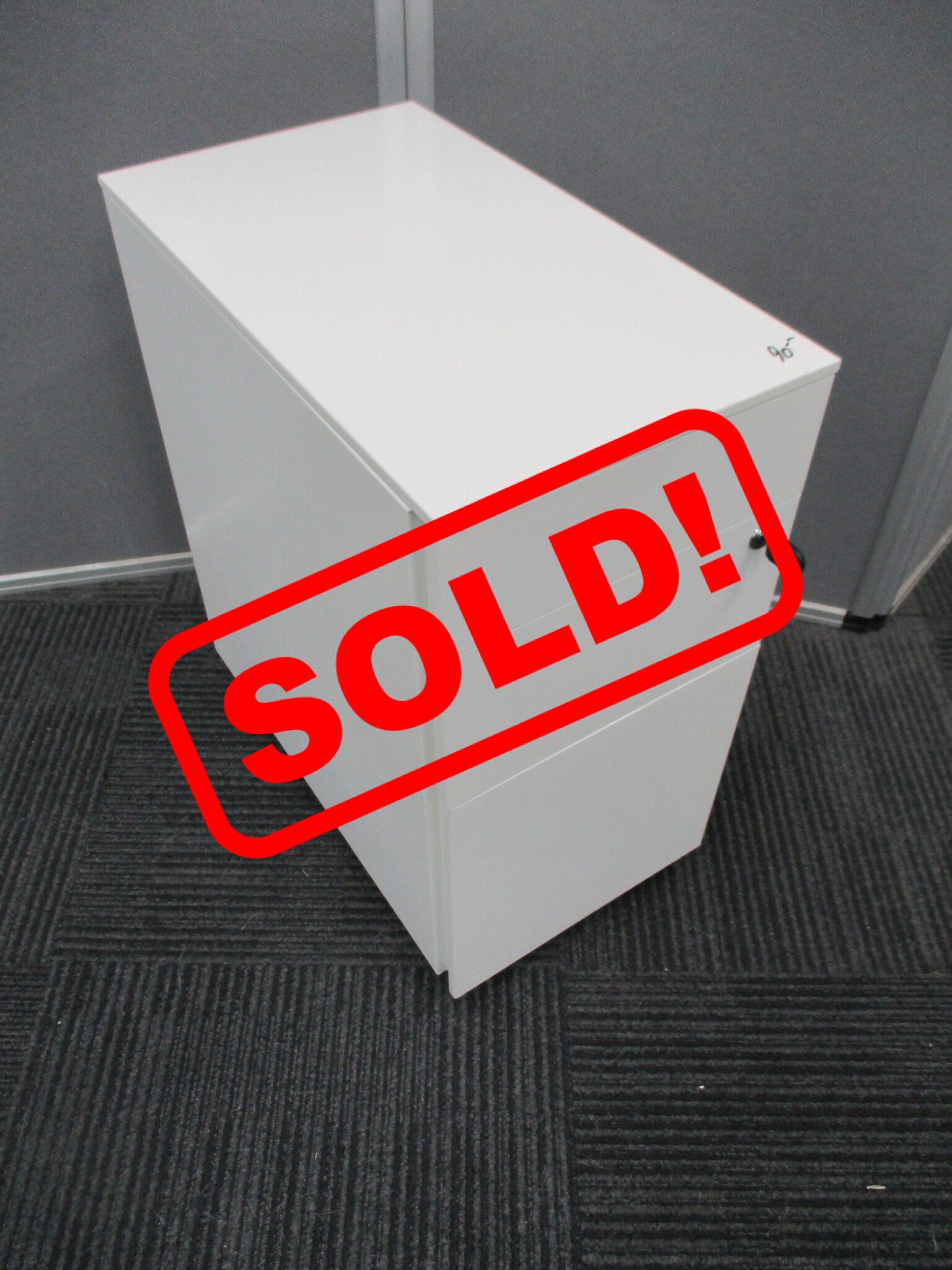 White Slimline 3 Drawer Mobile Pedestals $90